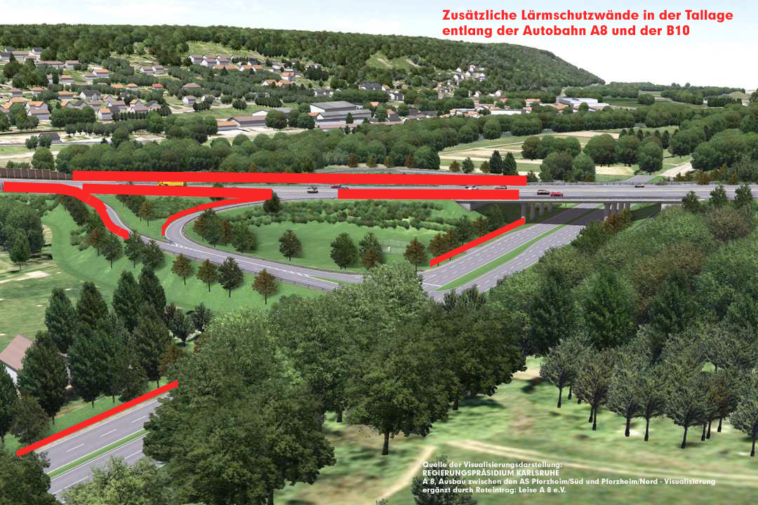 Anschlussstelle Pforzheim-Ost, B10, Blickrichtung Niefern-Vorort Foto: RP Karlsruhe, Überarbeitet von Leise A8 e.V. um unsere Forderungen zu visualisieren