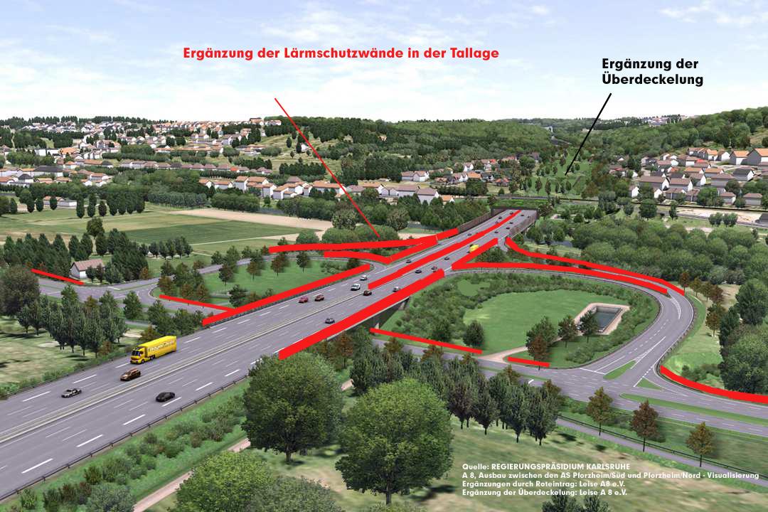Anschlussstelle Pforzheim-Ost, Blickrichtung Eutingen KA Foto: RP Karlsruhe, Überarbeitet von Leise A8 e.V. um unsere Forderungen zu visualisieren