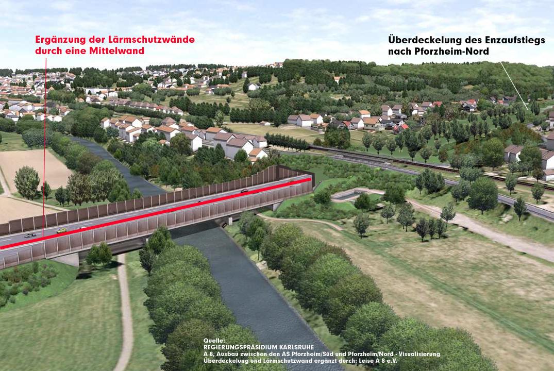 Enzbrücke, Blickrichtung Eutingen Foto: RP Karlsruhe, Überarbeitet von Leise A8 e.V. um unsere Forderungen zu visualisieren