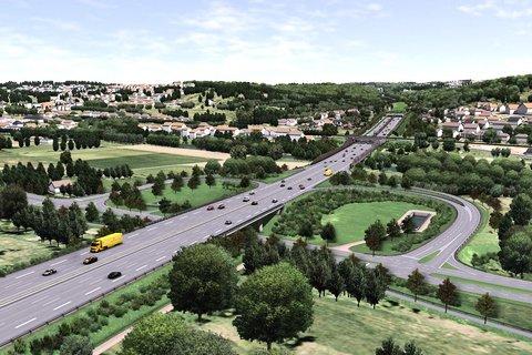 Das ist der Plan des Landes für den Ausbau der A8 im Enztal: Lärmschutzwände und ein kurzer Tunnel am Nieferner Enzberg. Niefern-Öschelbronn fordert, den Lärmschutz zu verbessern. Quelle PZ-news.de