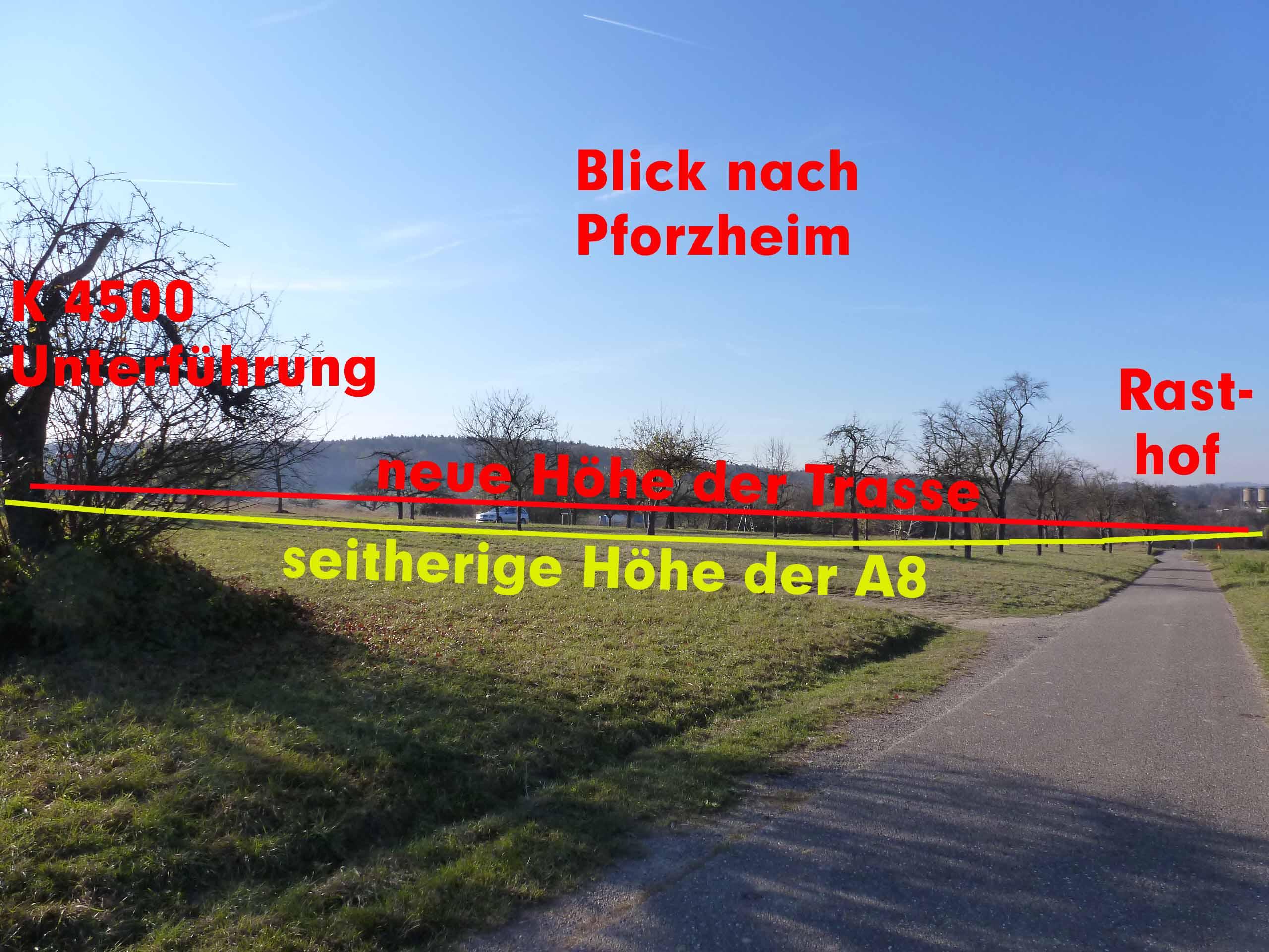 Höhe der A8 mit Blick zum Rasthof